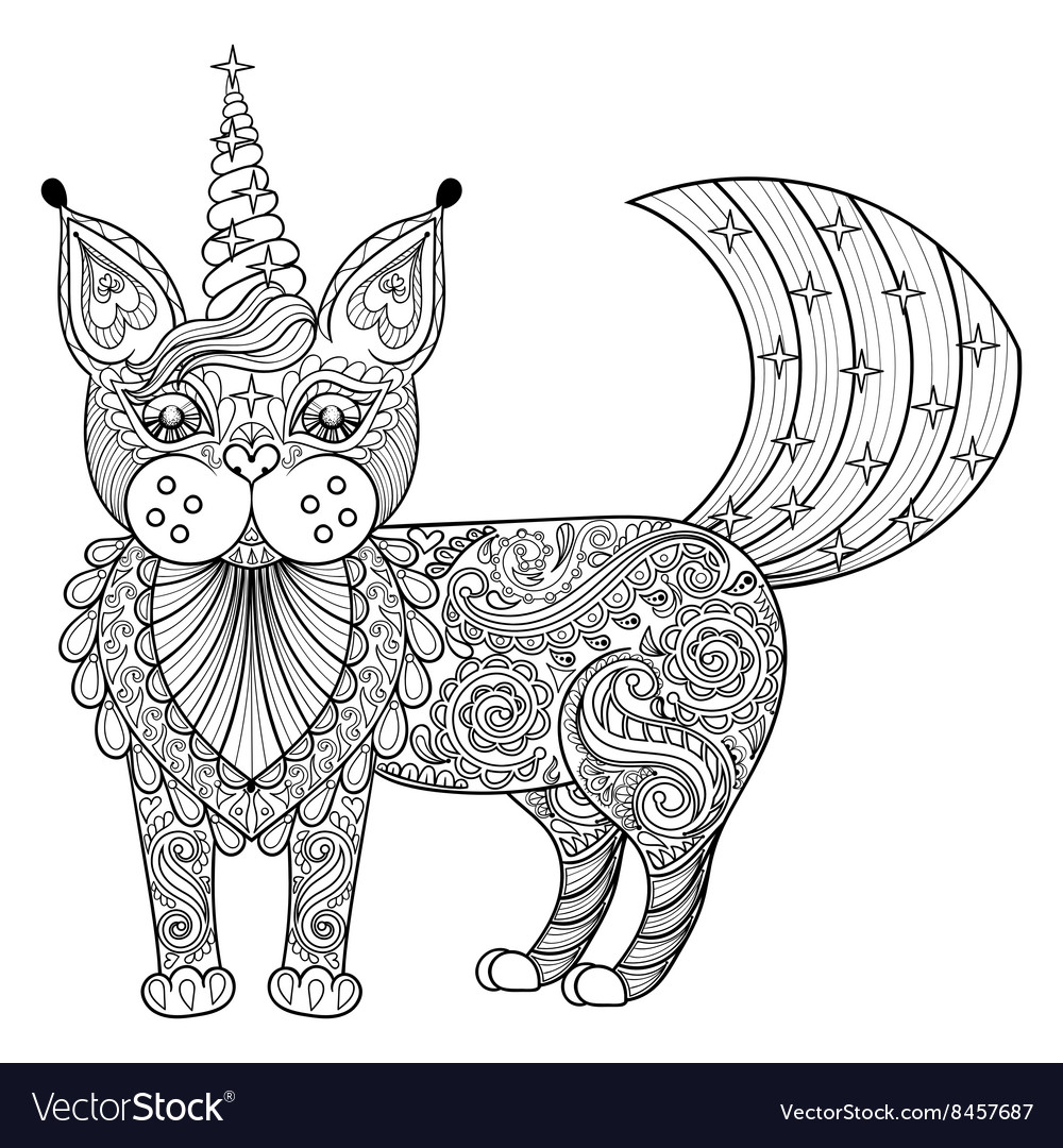 Zentangle magic cat unicorn black print
