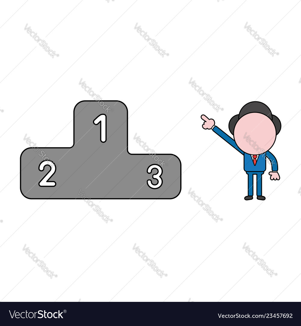 Businessman character pointing first place of