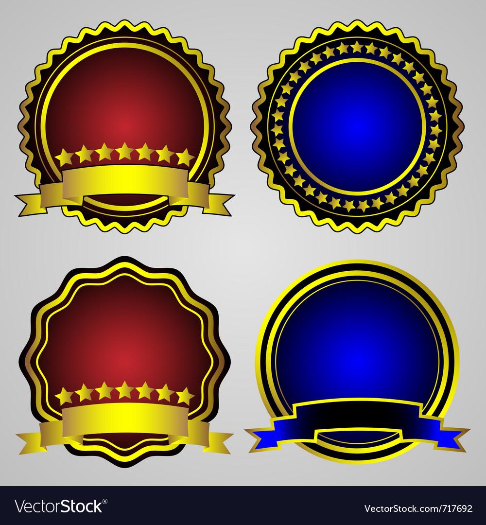 Four gold-framed labels set