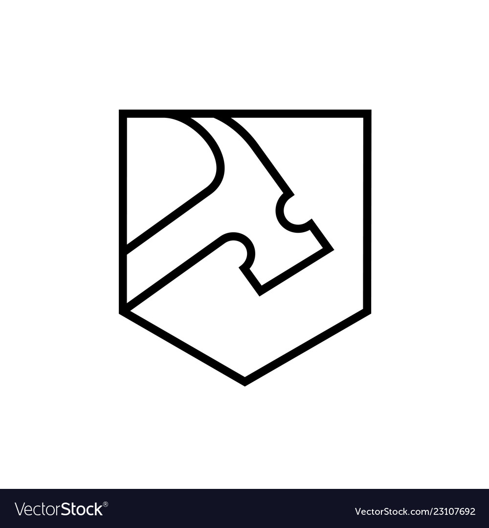 Hammer with shield shape line art style logo icon