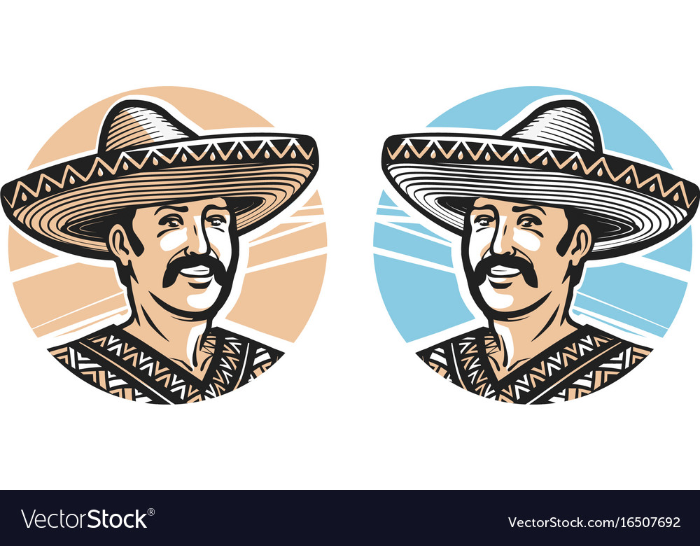 Portrait of happy mexican in sombrero logo or