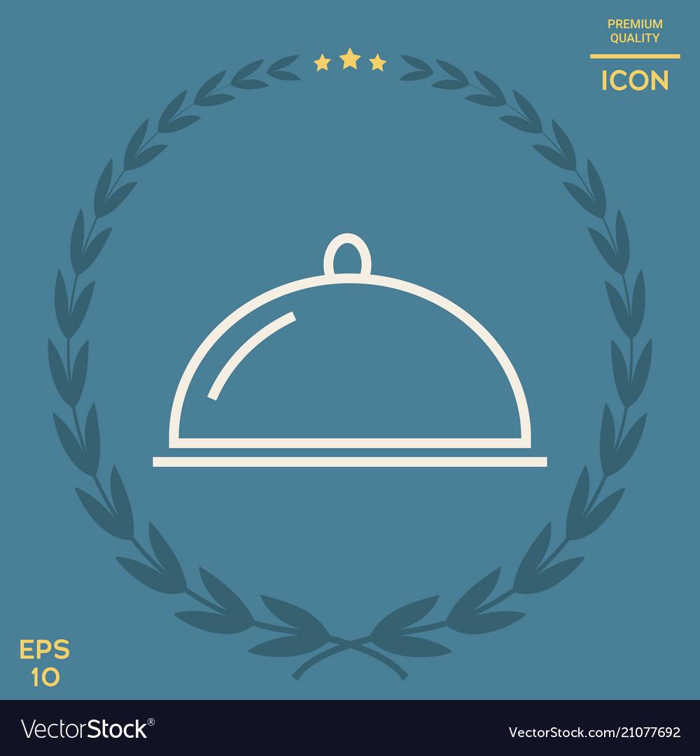 Restaurant Steel Serving Tray Cloche Line Icon Vector Image On Vectorstock