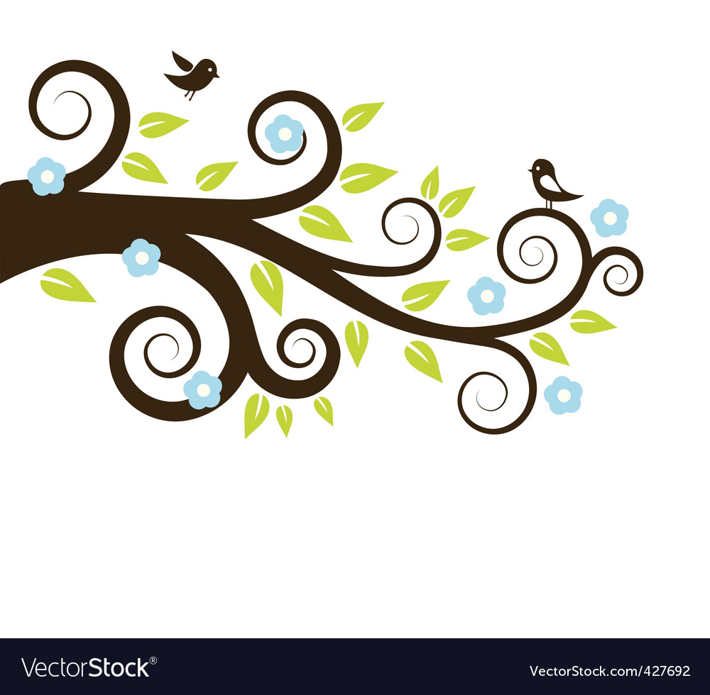Spring tree with birds