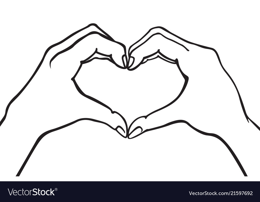 Two hands making heart sign love romantic