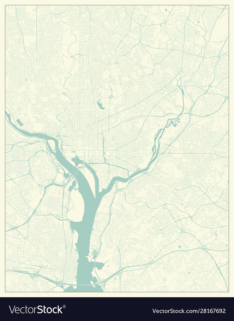 Washington dc district columbia us city map in