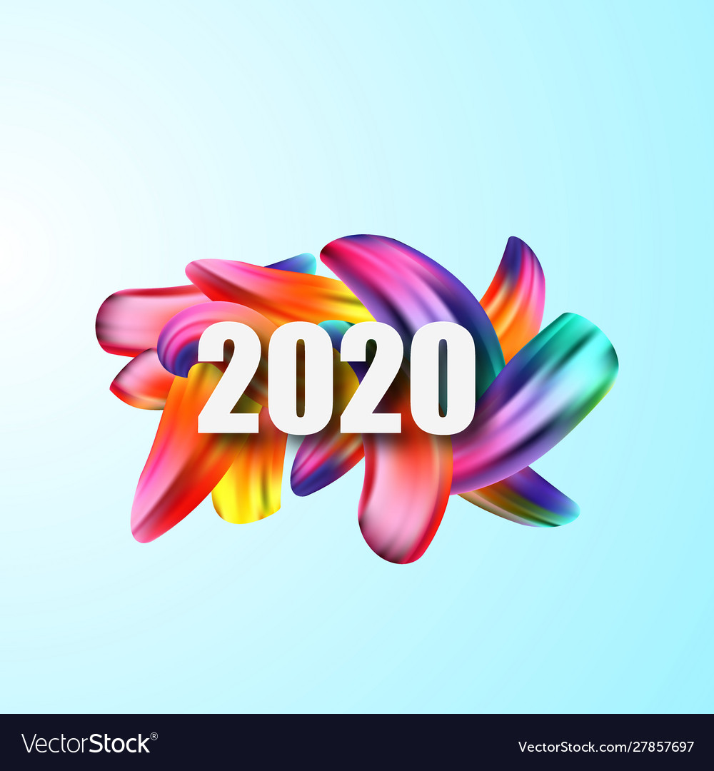 2020 happy new yearcolorful brushstroke oil or