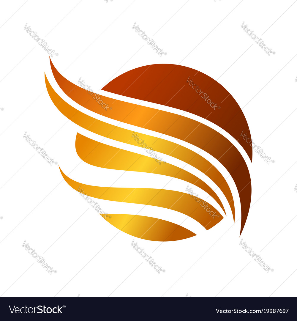 Abstract circled golden wing symbol design