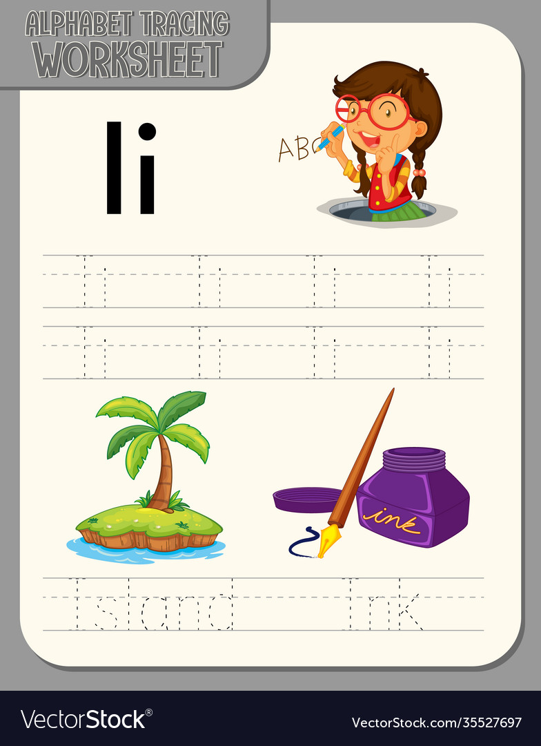 Alphabet tracing worksheet with letter and