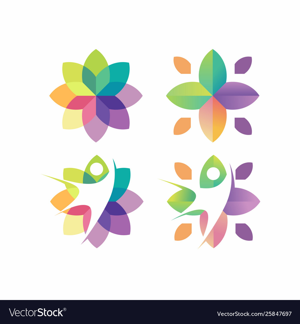 Awesome colorful flower with people logo design