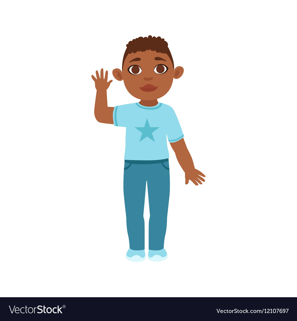 Black Boy Kid Waving Part Of Growing Stages With