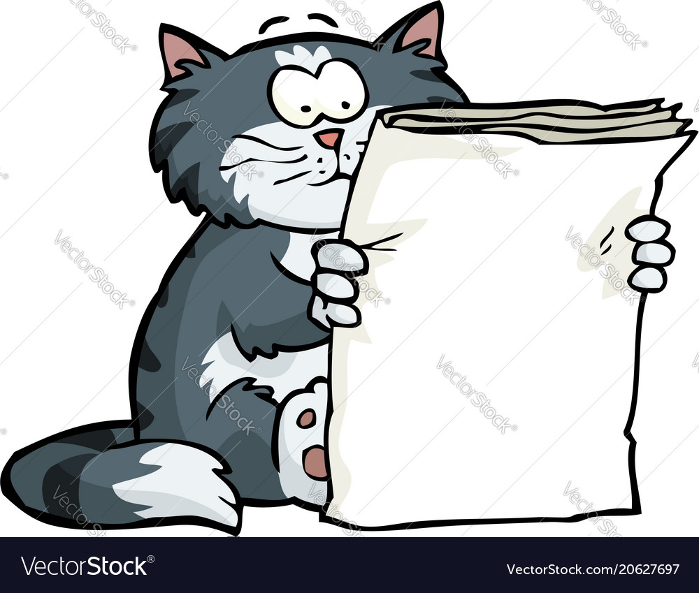 Cat is reading the newspaper