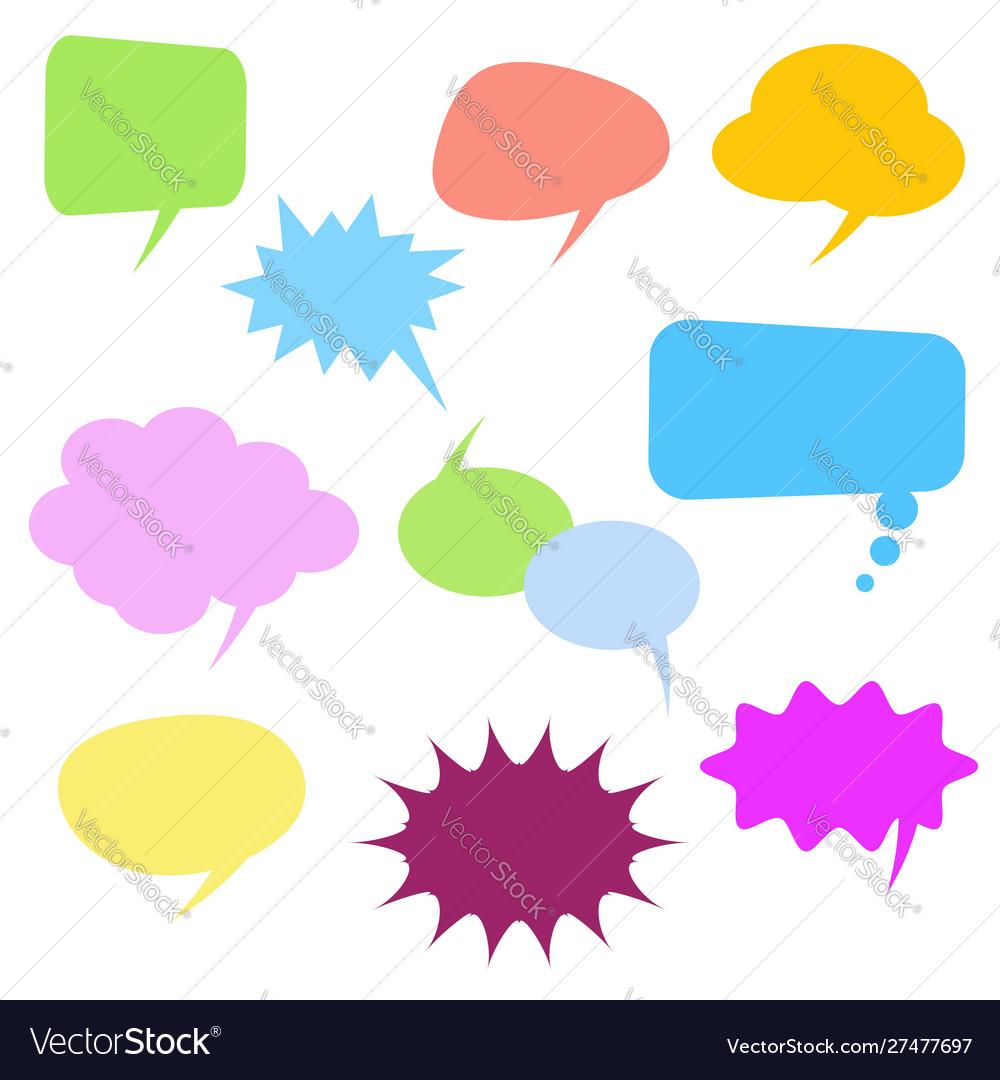 Colorful comic speech bubbles set on white