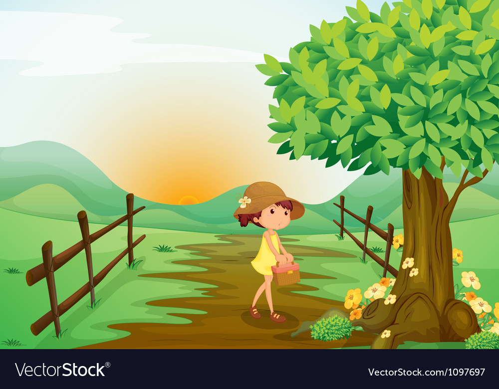 Girl and landcape vector image