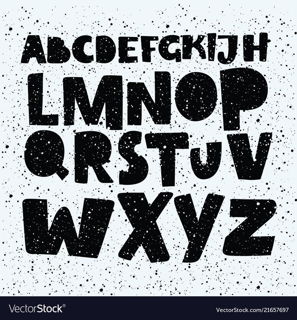 Hand drawn comics style font alphabet