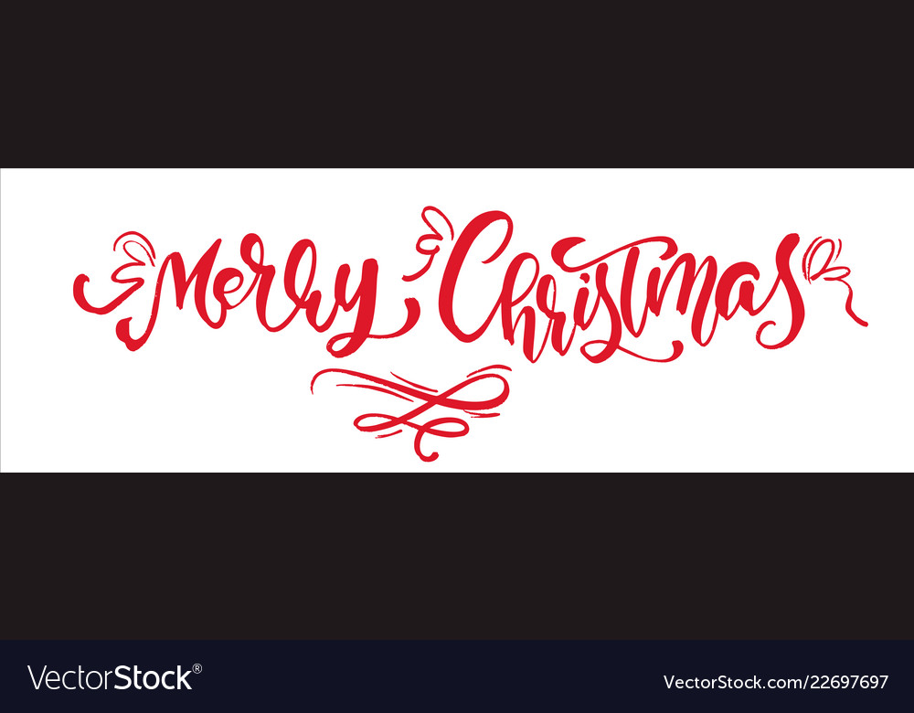 Merry christmas red vintage calligraphy lettering