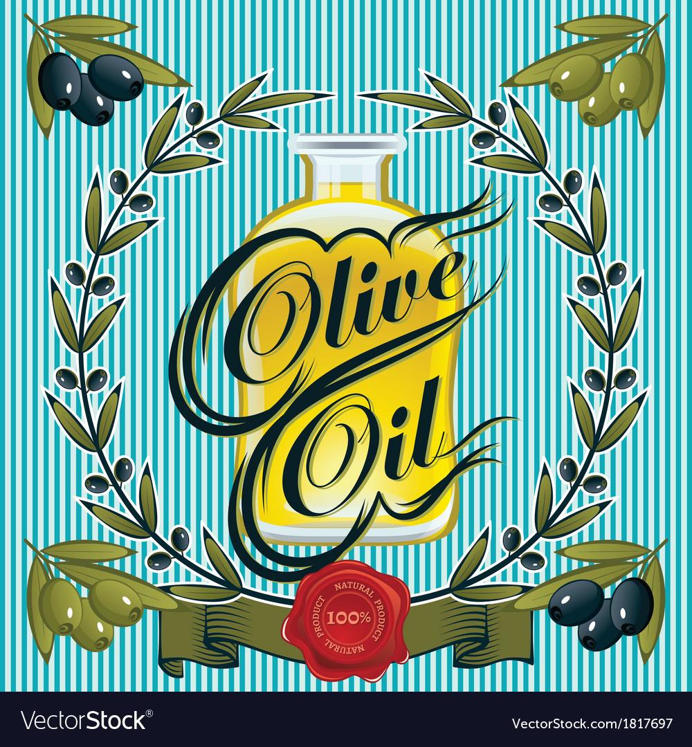 Olive oil sprigs of olives and stamp
