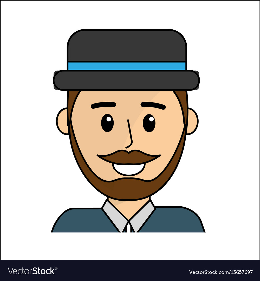 People happy face man with hat icon vector image