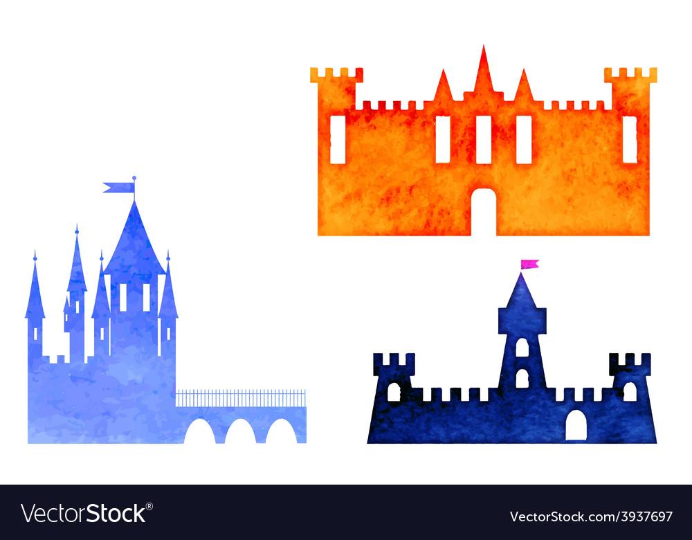 Set of watercolor castle