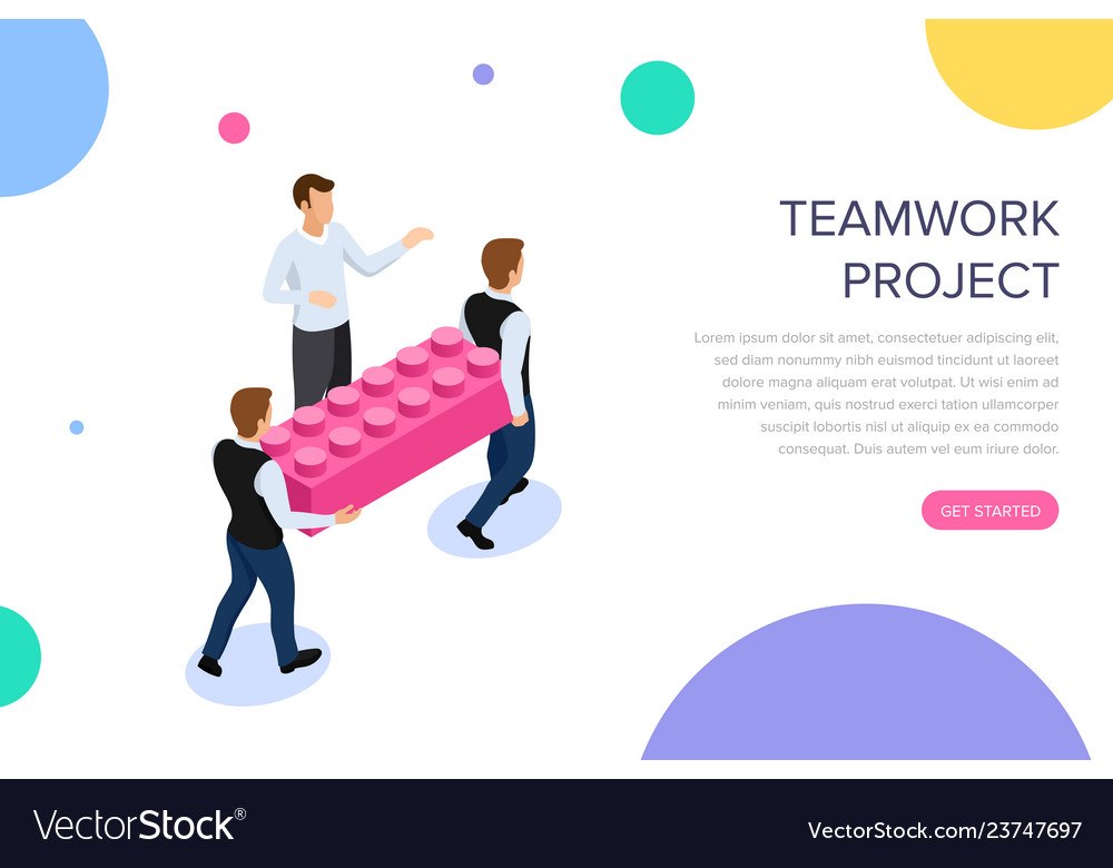 Teamwork project concept with characters can use