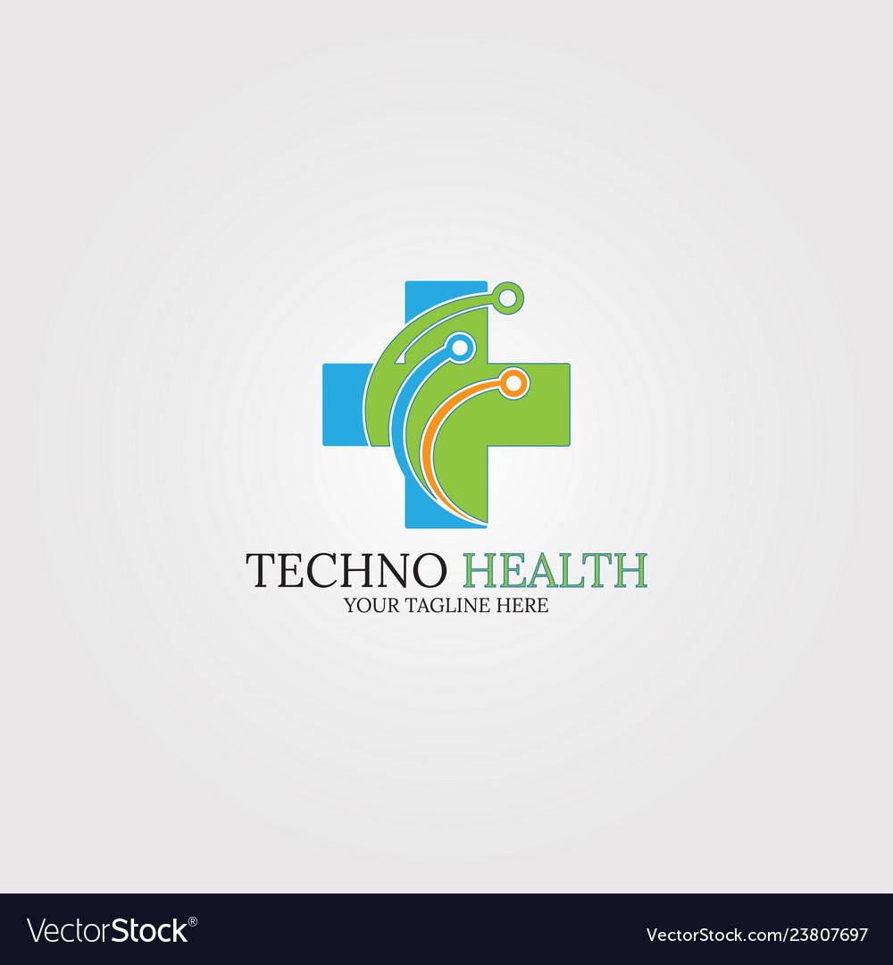 Tech medical health logo template