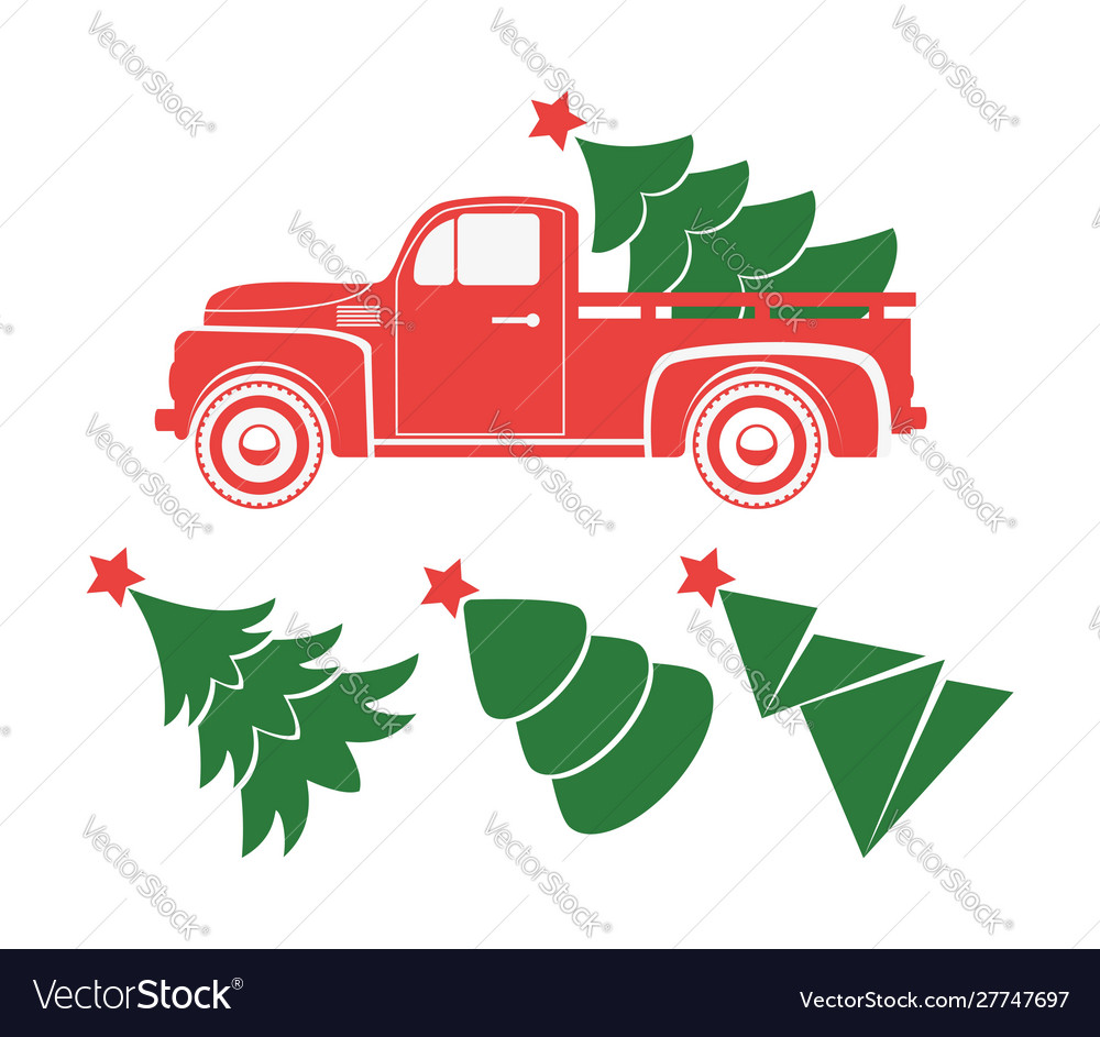 Vintage pickup truck delivery christmas tree