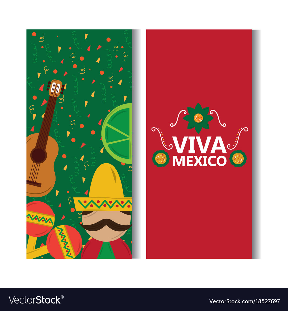 Viva mexico banner man mexican guitar lemon
