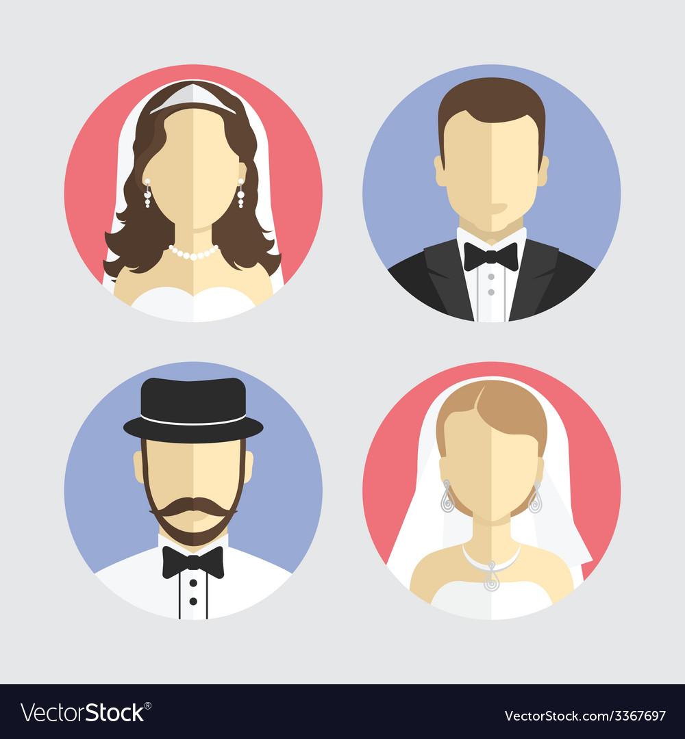Wedding couple avatar flat design