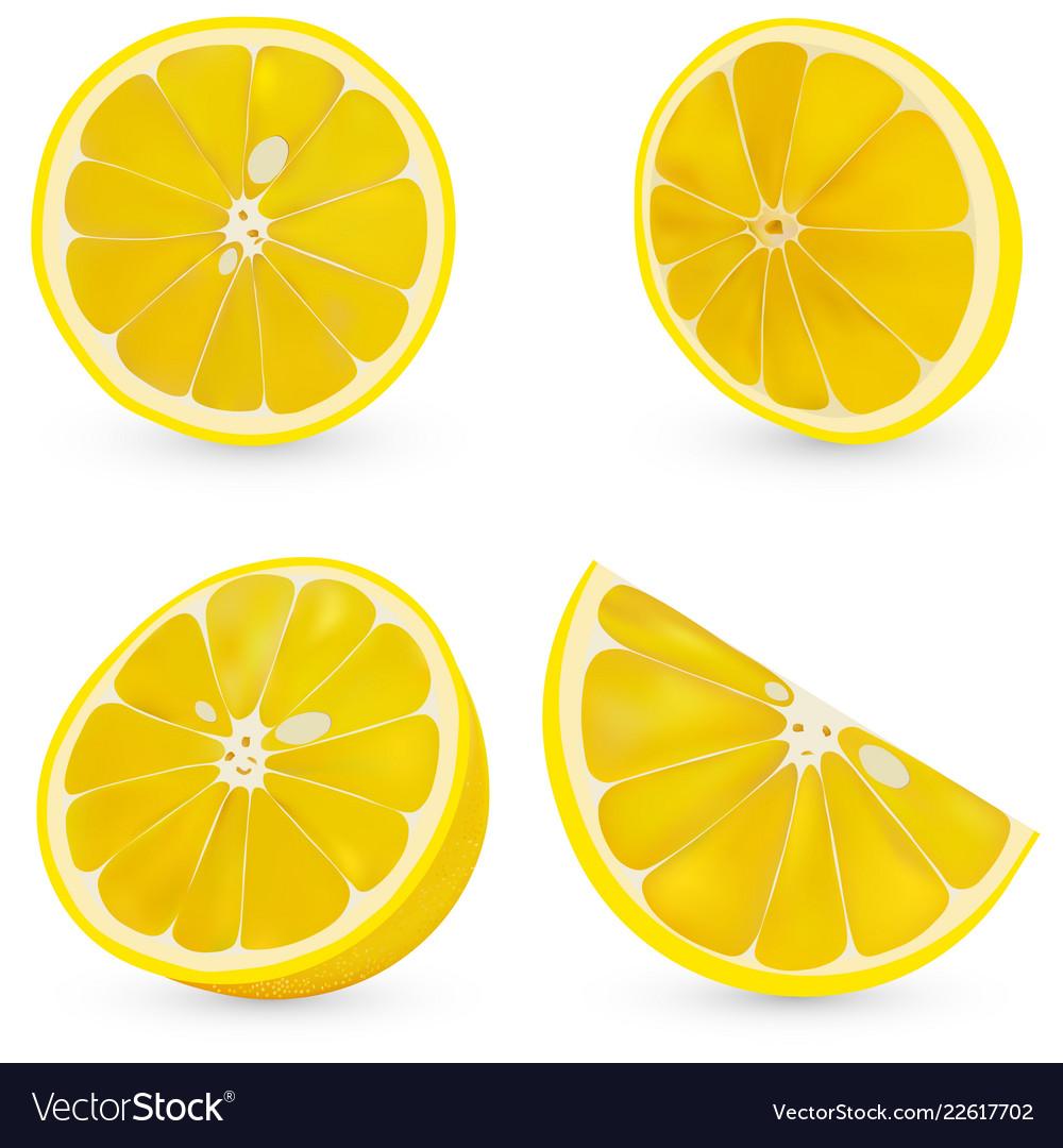 3d realistic sliced lemon isolated sliced