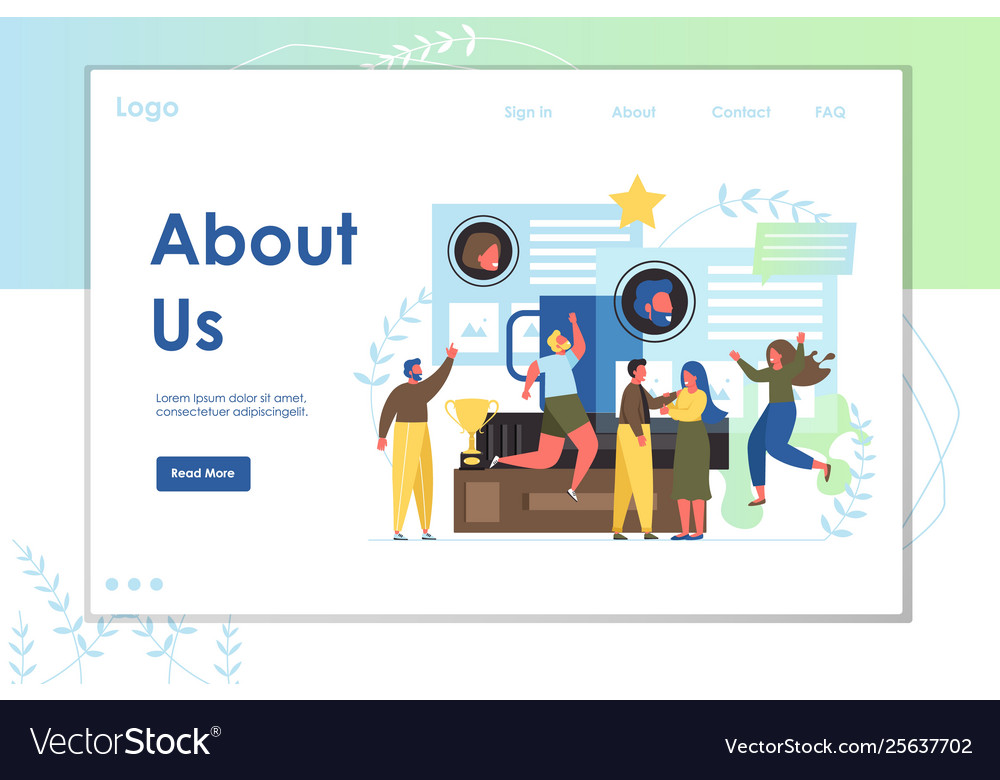 About us website landing page design