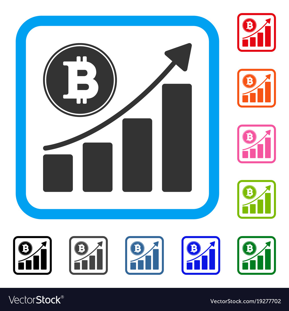 Bitcoin growing chart framed icon