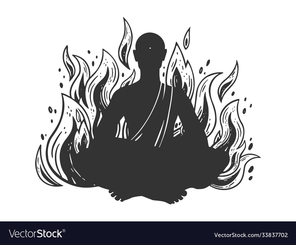 Burning meditating monk sketch