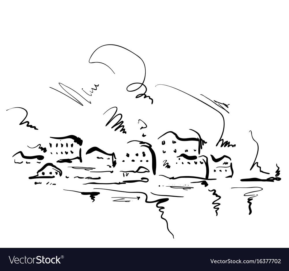 Cartoon houses hand drawn landscape