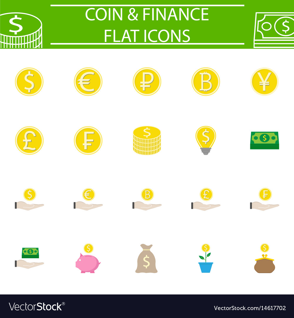 Coins flat pictograms package finance signs vector image