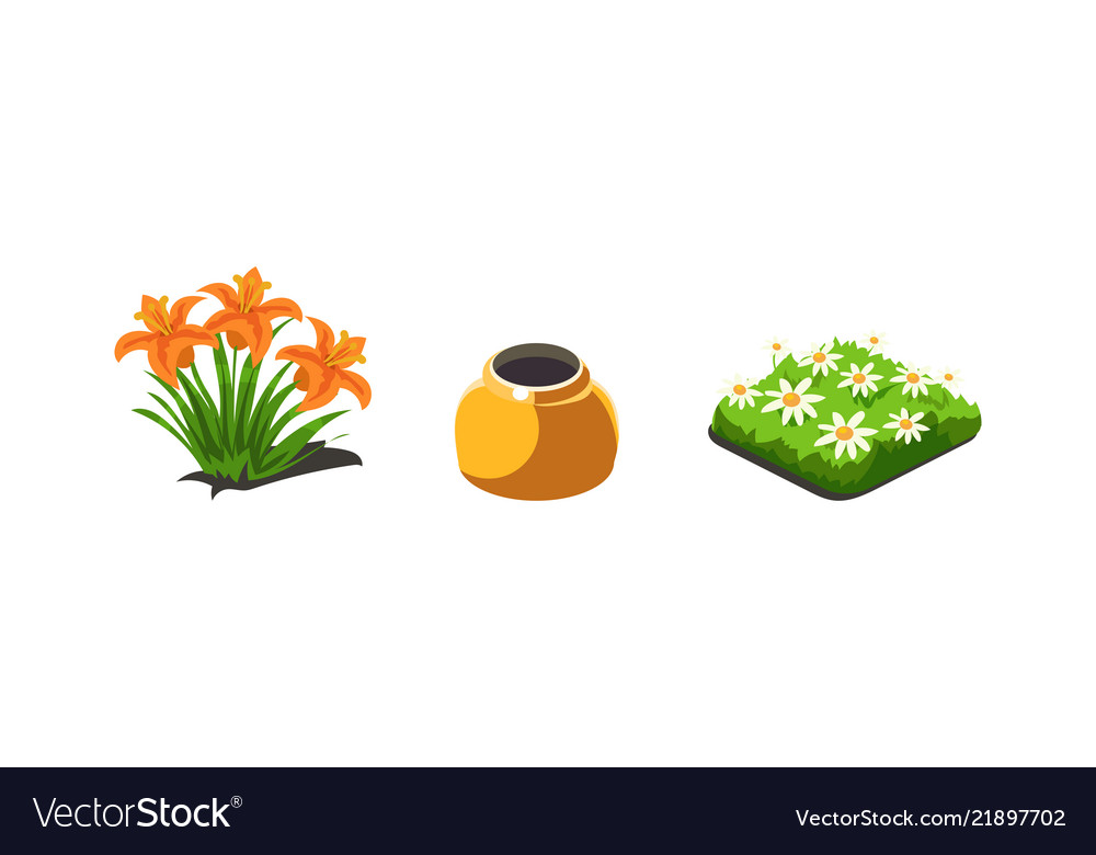 Garden plants lilies and chamomiles flowers game