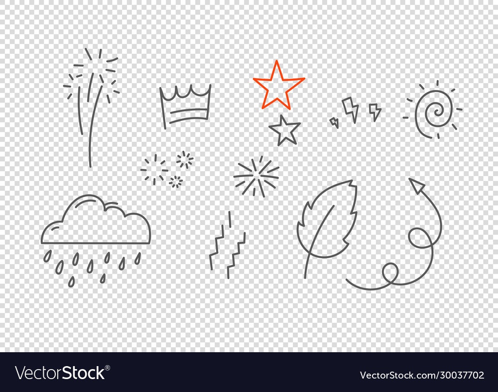 Hand drawn doodle style elements isolated