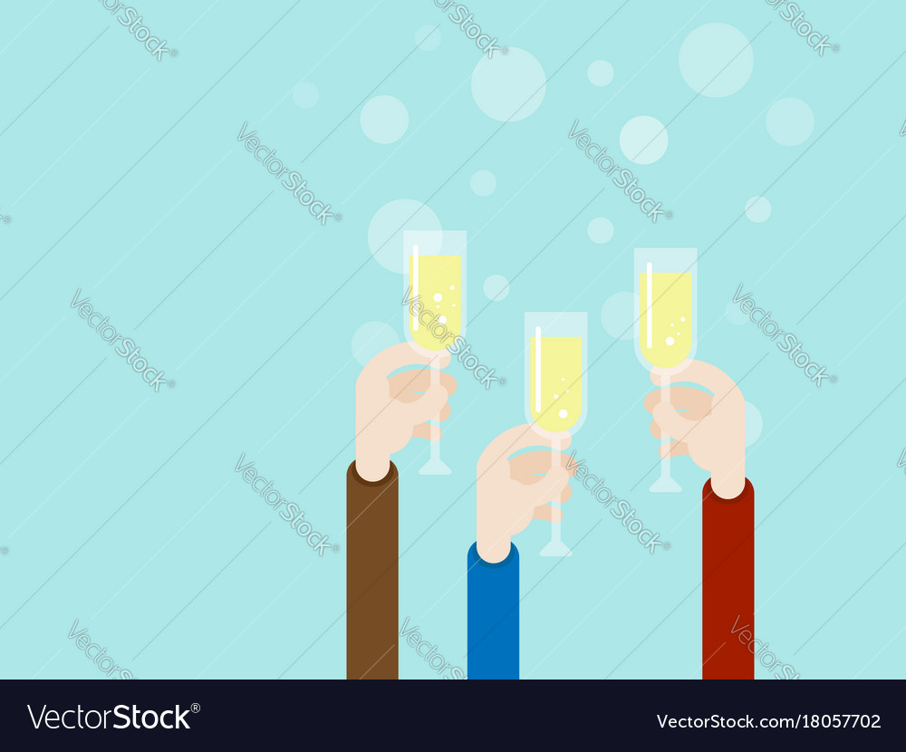 Hand with champagne glass party concept