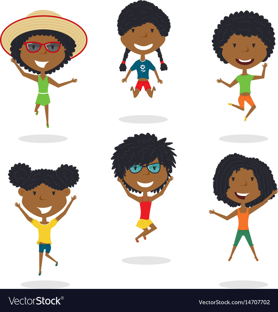 Happy african-american cartoon girsl jumping