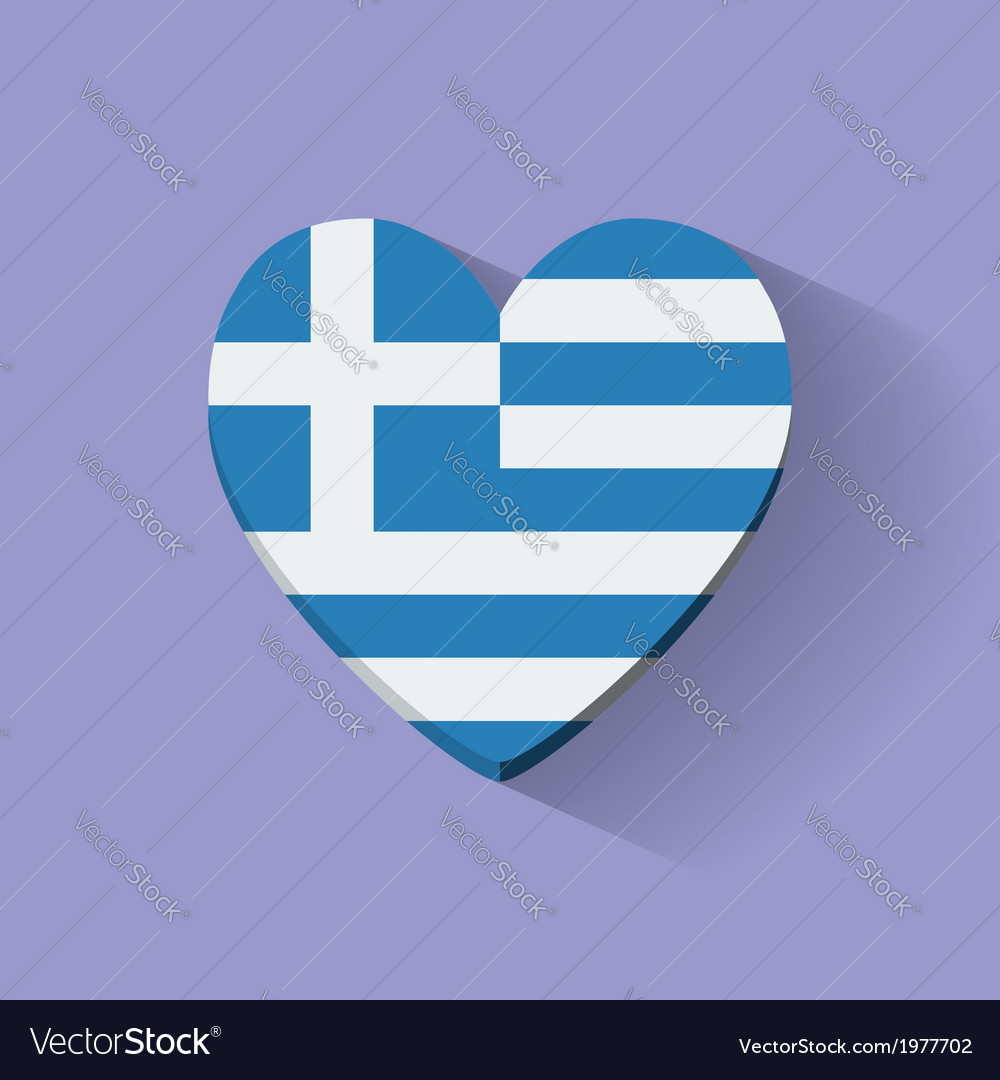Heart-shaped icon with flag of Greece