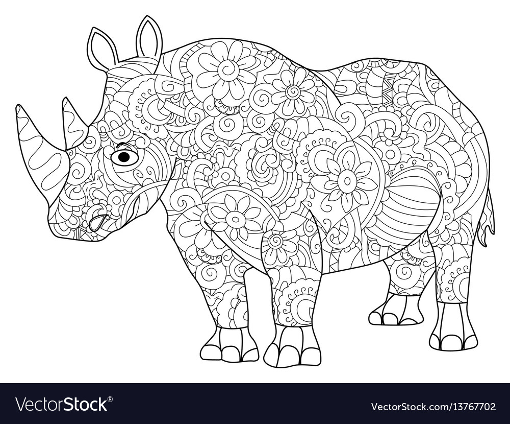 Hippopotamus coloring book for adults vector image