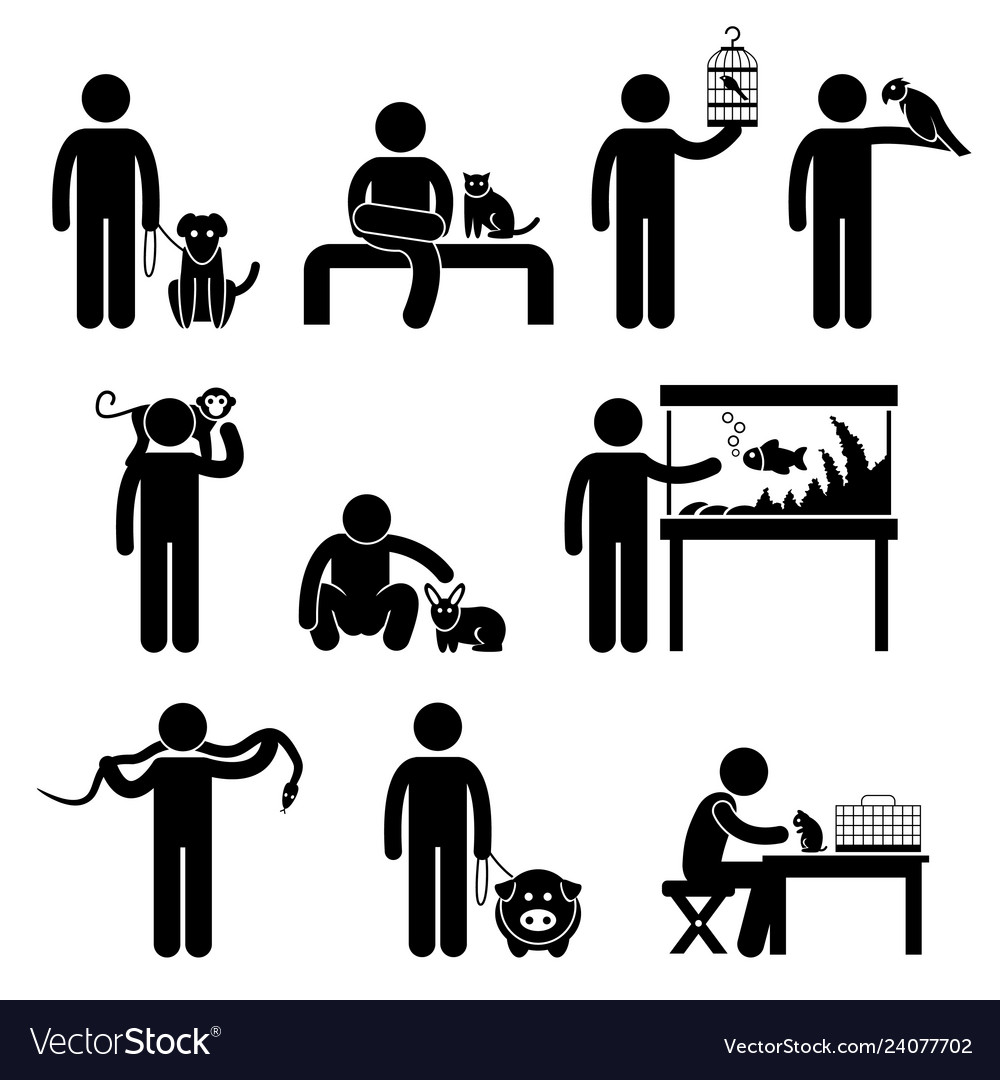 Human and pets pictogram a set of pictogram