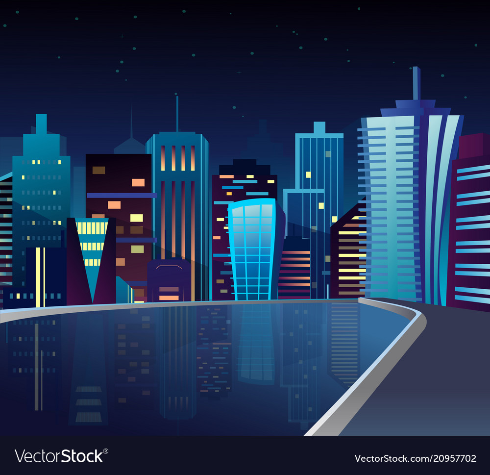 Night cityscape with lake