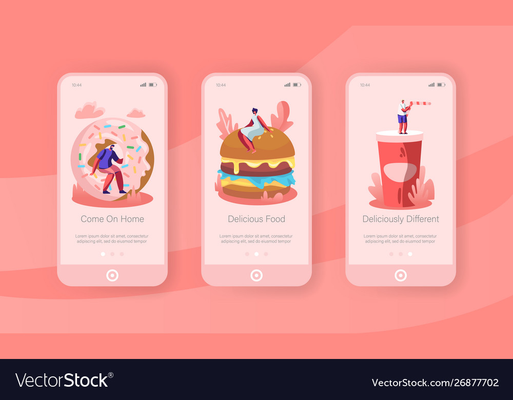People and junkfood mobile app page onboard screen