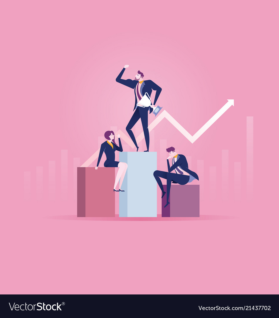 Reach success flat design business people concept
