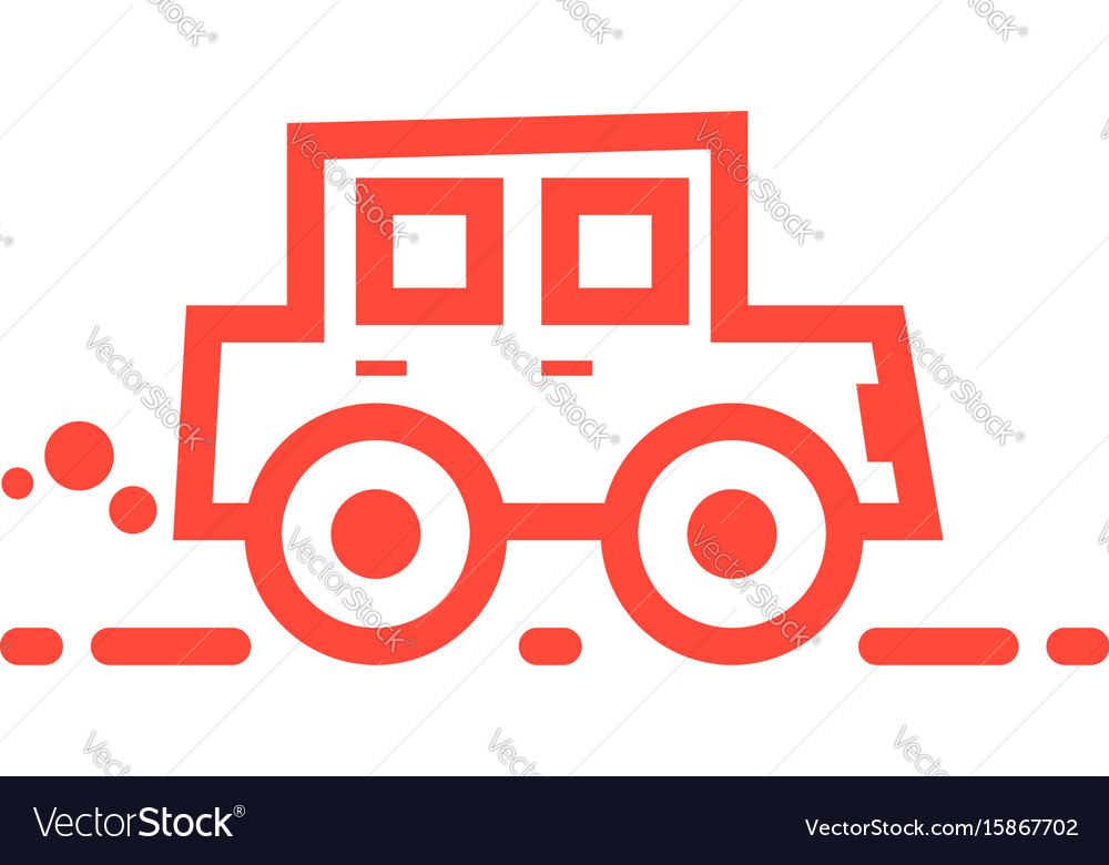 Red linear car icon