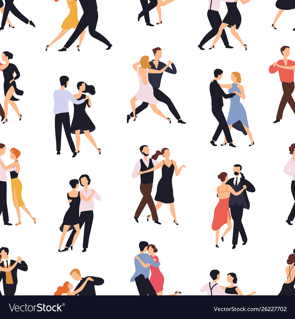 Seamless pattern with elegant couples dancing