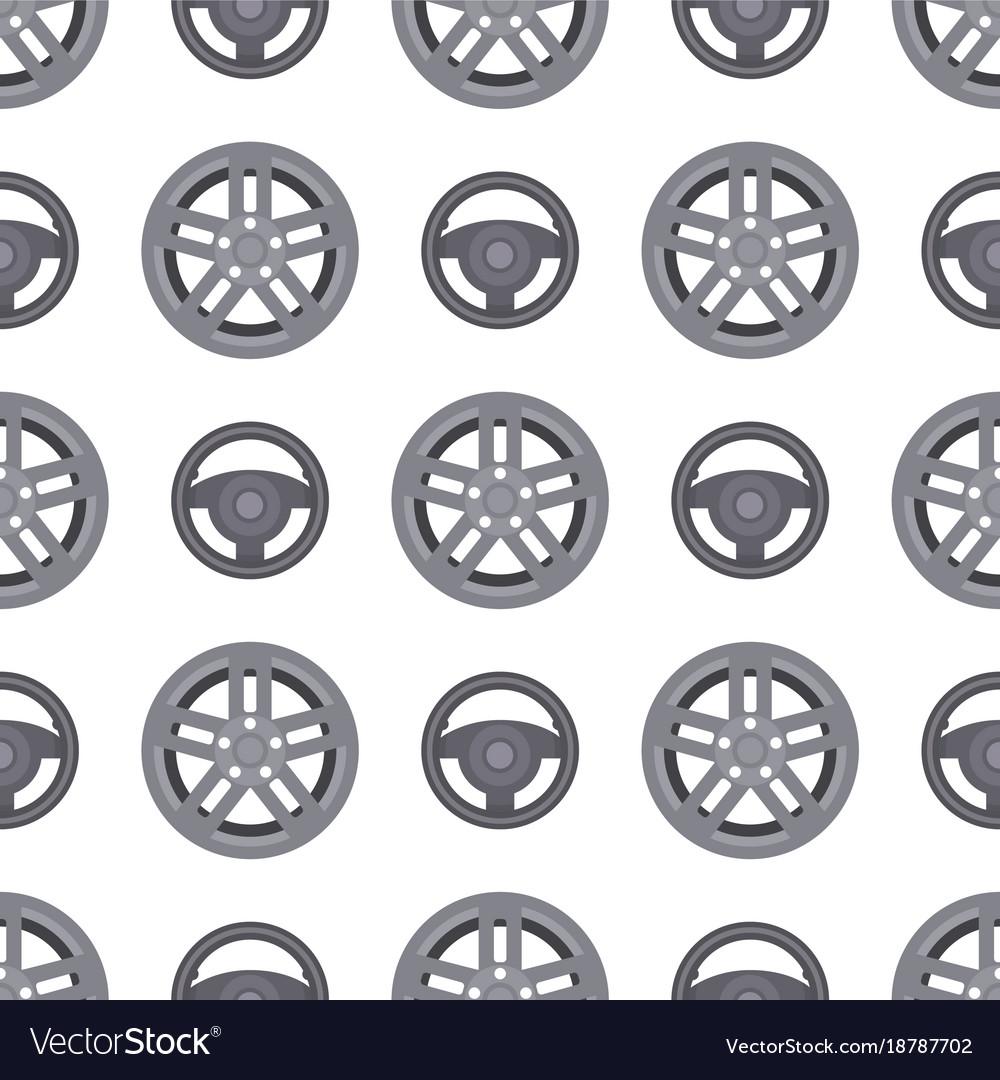 Steering wheels hearts seamless pattern background
