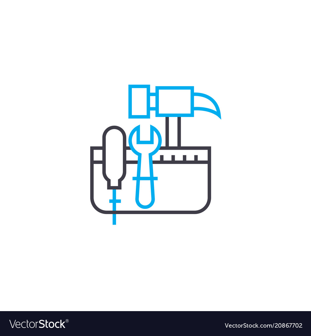 Tool kit thin line stroke icon tool kit vector image