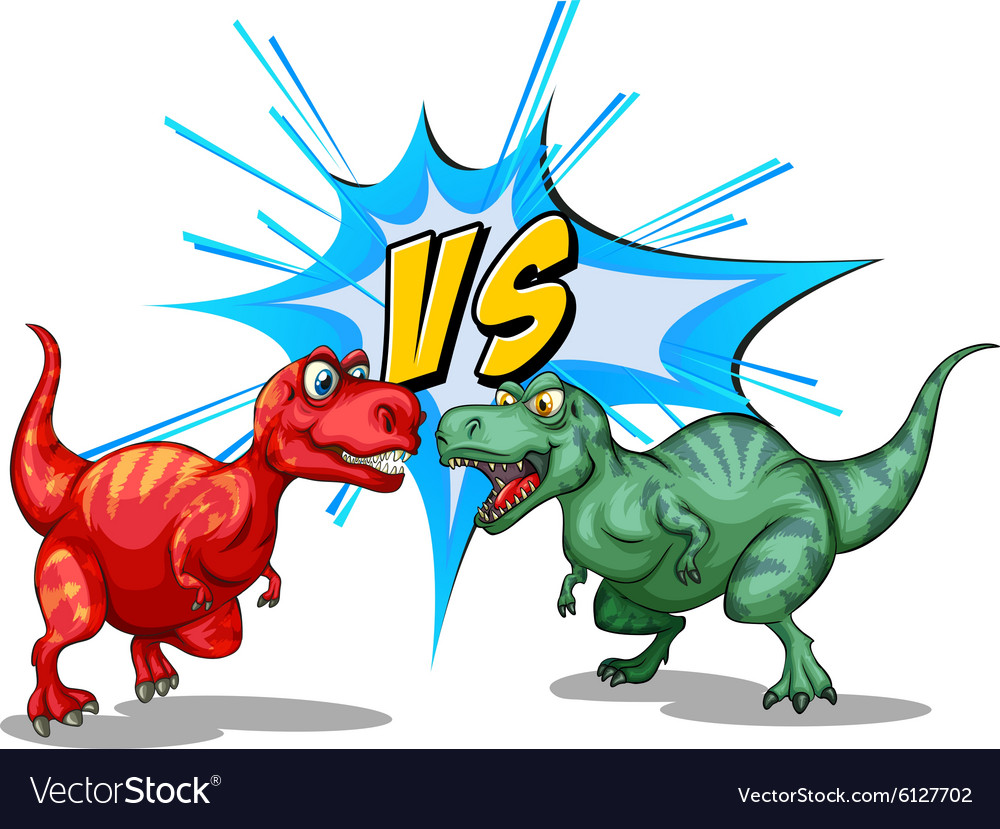 two dinosaurs fighting each other royalty free vector image