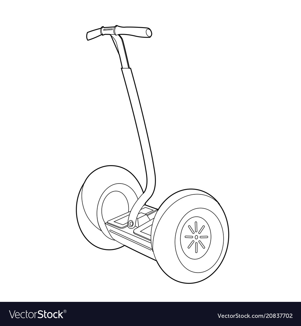 Two wheeled electric vehicle icon outline