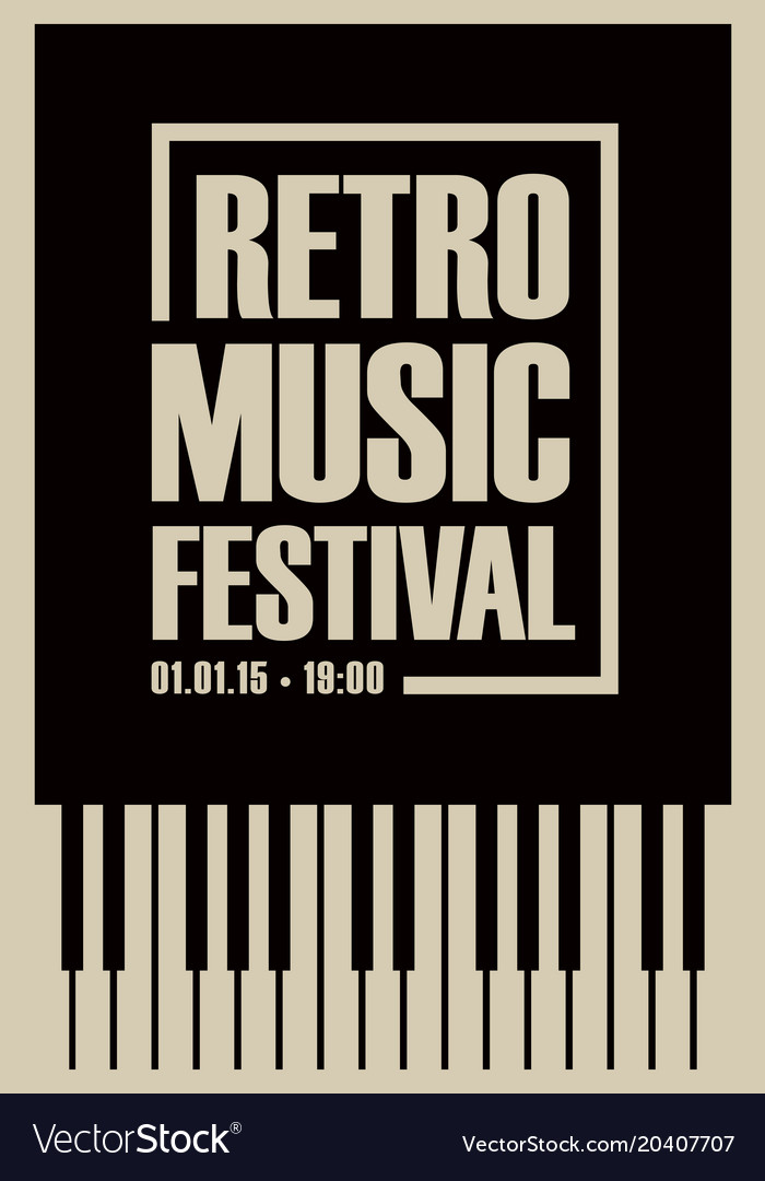 Banner For Retro Music Festival With Piano Keys Vector Image